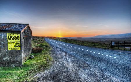Фотографии закат, дорога, дом, пейзаж