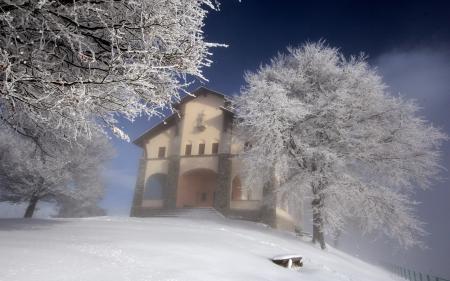 Заставки зима, дом, дерево, пейзаж