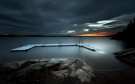 Фотографии озеро, ночь, мост