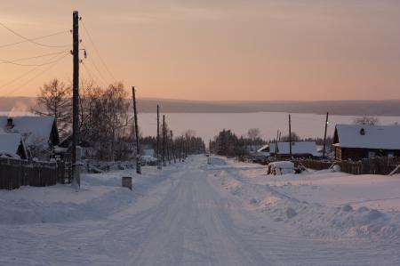 Фото Сибирь, зима, поселок, закат