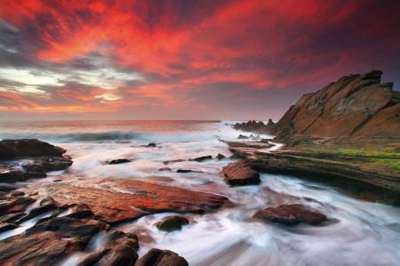 Фото небо, море, камни, вода