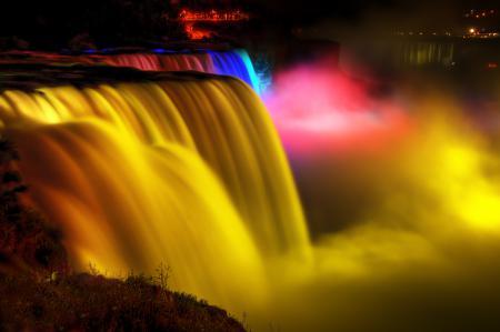 Заставки ниагара, водопад, река, огни