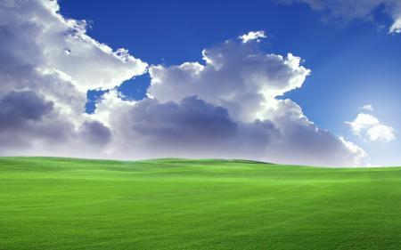Фото луг, облака, небо, холмы