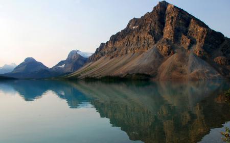 Обои горы, вода, солнце