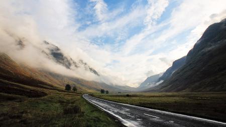 Картинки горы, дорога, туман, дымка