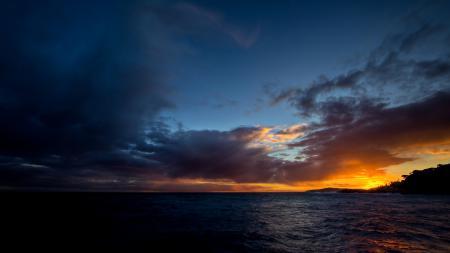 Заставки океан, горизонт, закат, небо