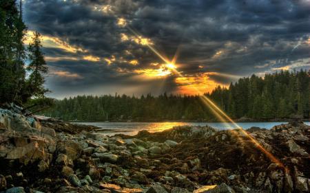 Заставки sunset, закат, река, небо