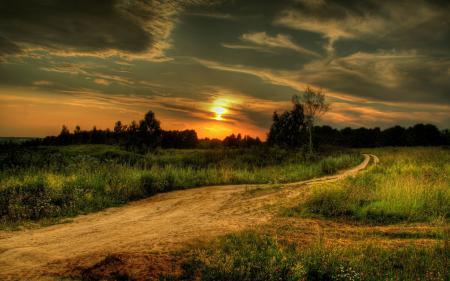 Фото закат, дорога, поле, природа