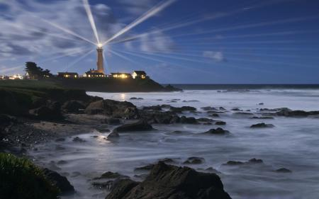 Обои пейзажи, ночь, маяки, вода