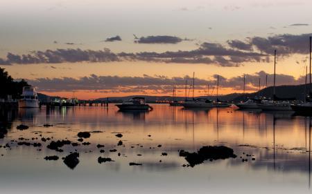 Заставки Вечер, солнце, закат, яхты