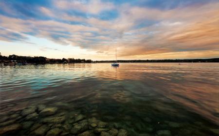 Фотографии небо, берег, вода, яхта