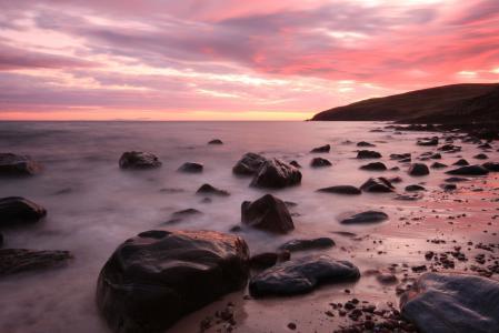 Фотографии море, камни, небо, закат
