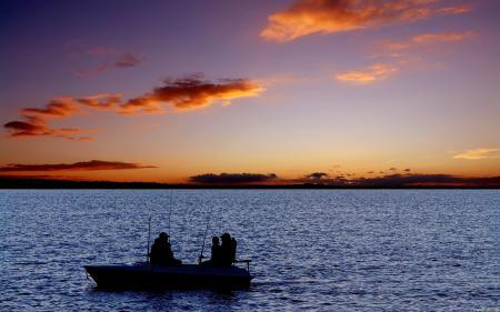 Обои Лодка, Рыбаки, Удочки, Озеро