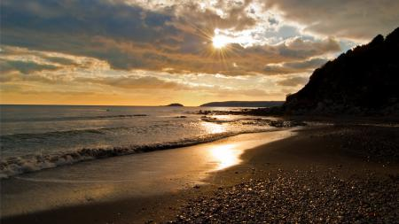 Обои берег, песок, вода, море