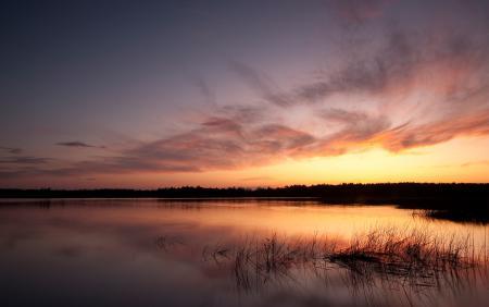 Заставки озеро, небо, закат, трава