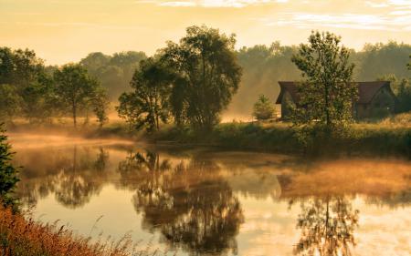 Заставки река, туман, дом, утро
