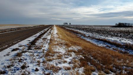 Обои поле, дорога, снег