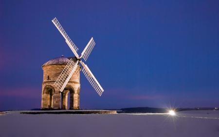 Фотографии Мельница, поле, ночь, снег