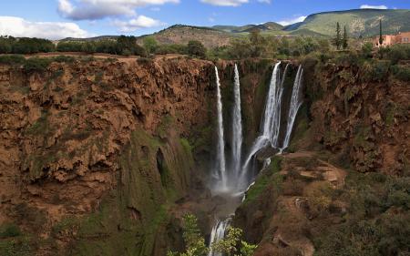 Заставки природа, пейзаж, водопад, обрыв