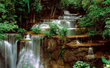 Картинки водопад, каскады, деревья