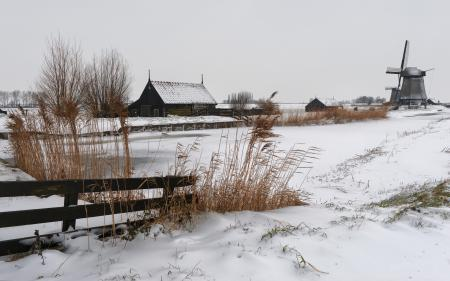 Фотографии зима, дом, мельница