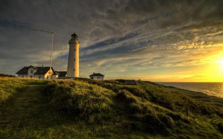 Картинки маяк, закат, море