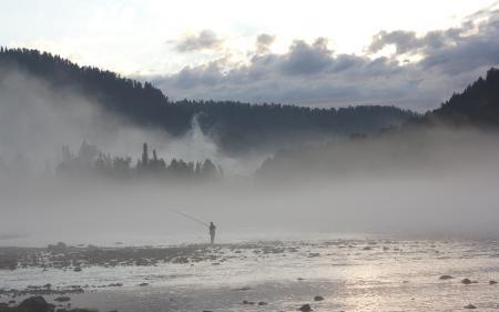 Картинки река, туман, рыбалка