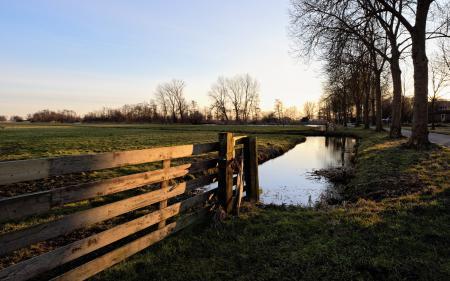 Фотографии поле, забор, закат