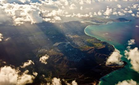 Фото гаваи, остров, высота, солнце