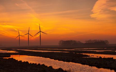 Заставки поле, ветряки, закат