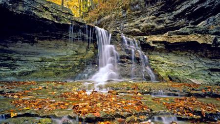 Фото водопад, осень, листья
