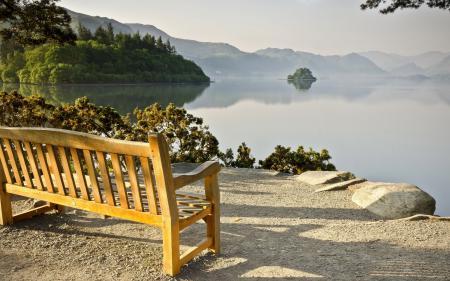 Картинки озеро, скамья, пейзаж
