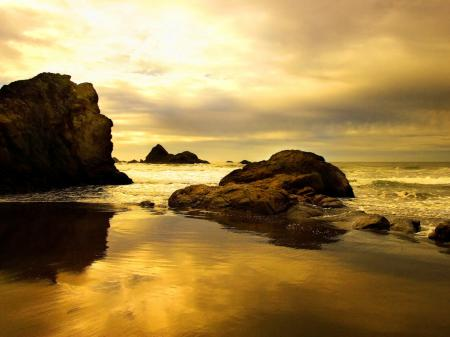 Фото скалы, океан, отлив, золото