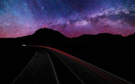 Фото ночь, дорога, звёзды, горы