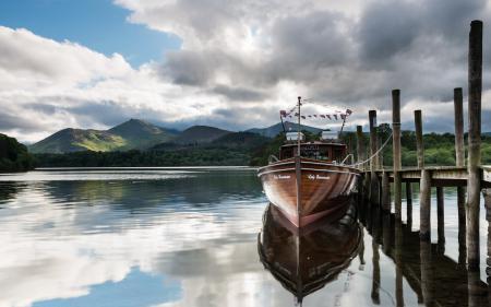 Фотографии озеро, лодка, пристань, пейзаж