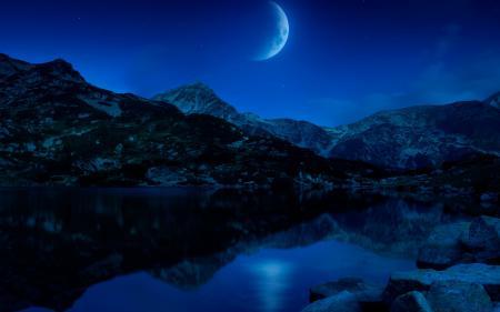 Фото ночь, горы, озеро, луна