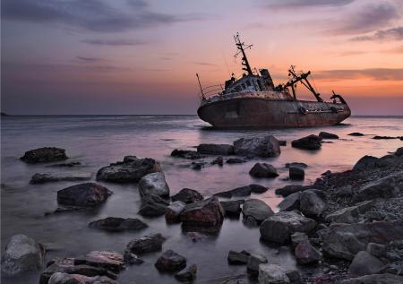 Заставки закат, корабль, море