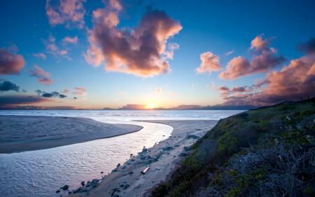 Фото Песок, пляж, закат, солнце