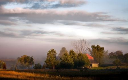 Картинки поле, закат, дом, пейзаж
