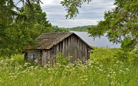 Заставки река, дом, лес, пейзаж