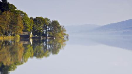 Фотографии озеро, туман, дом, пейзаж
