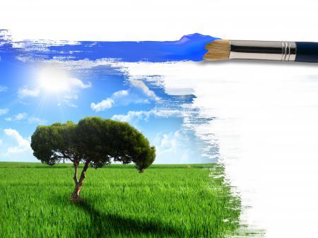 Картинки креатив, кисть, краска, пейзаж
