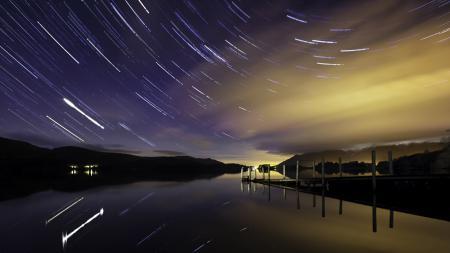 Обои озеро, мост, ночь, звёзды