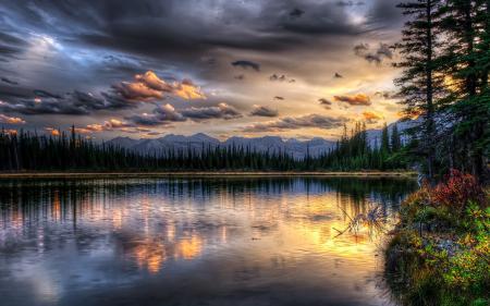 Заставки озеро, закат, пейзаж