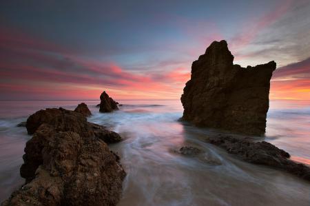 Картинки небо, вечер, пляж, скалы