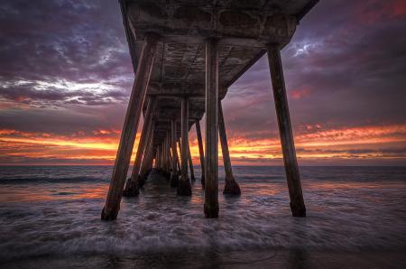 Заставки мостик, море, небо, пляж