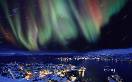 Картинки северное сияние, небо, огни, дома