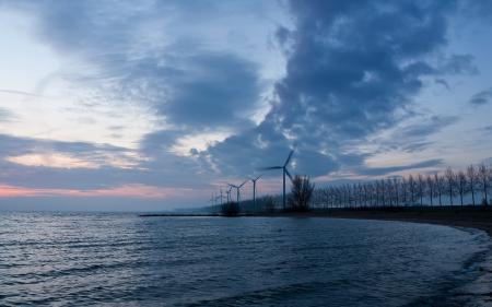 Фотографии вечер, море, мельницы, пейзаж