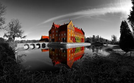 Фотографии замок, озеро, цвет, пейзаж