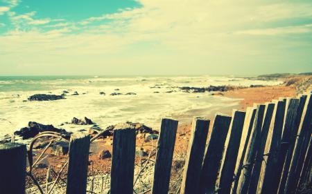Картинки Пейзаж, забор, пляж, песок
